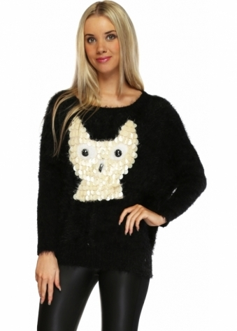 Urban Mist Black Fluffy Jumper With Sequinned Owl
