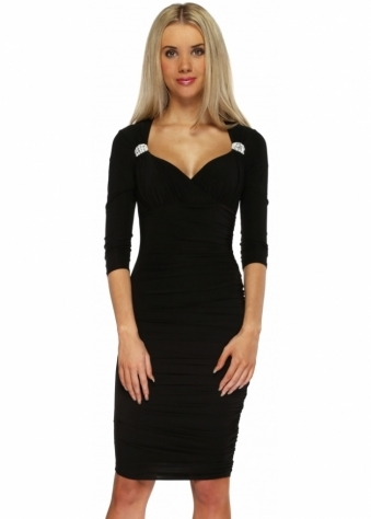 Goddess London Black Sweetheart Neckline Diamonte Brooch Slinky Midi Dress