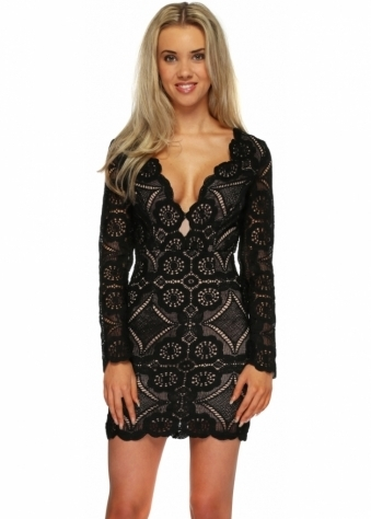 Love Triangle Atomic Black Crochet Lace Bodycon Dress