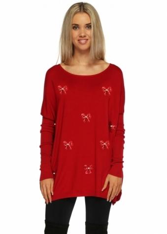 Designer Desirables Cherish Red Sequin Bows & Pearls Embellished Jumper