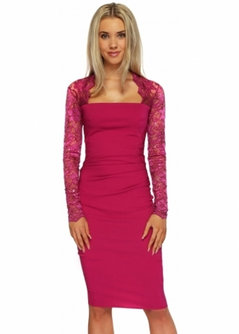 Goddess London Sequinned Lace Pleated Bodice Magenta Pencil Dress