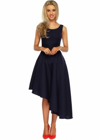 Goddess London Navy Blue Textured Asymmetric Midi Length Skater Dress