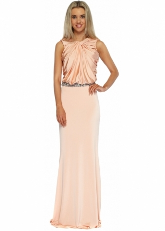 Pia Michi Peach Silky Jersey Knotted Crystal Embellished Evening Dress