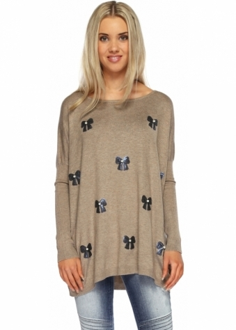 Designer Desirables Cherish Taupe Sequin Bows & Pearls Embellished Jumper