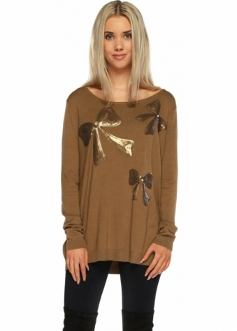 Designer Desirables Honesty Sparkle Three Bow & Pearl Khaki Jumper