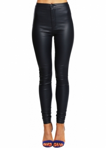 Navy Blue PU Stretch Fit Skinny High Waisted Jeans