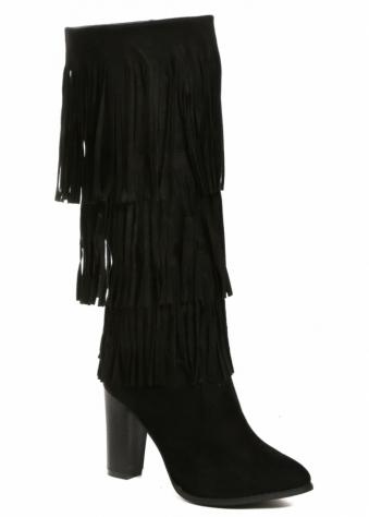 Designer Desirables Black Fringed Suede Knee High Boots
