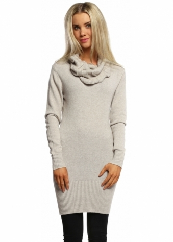 Beige Cable Knit Polo Neck Jumper Dress
