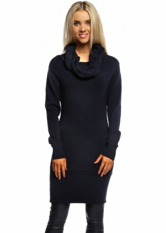 Designer Desirables Navy Blue Cable Knit Polo Neck Jumper Dress
