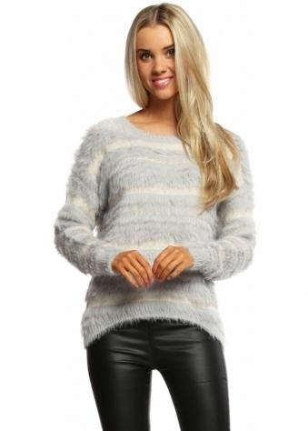 Designer Desirables Grey Fluffy Sparkle Stripe Jumper