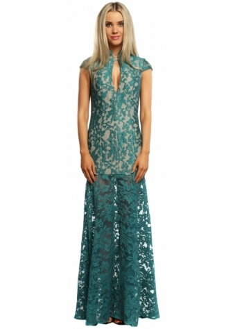 Jarlo Samantha Teal Lace Plunge Oriental Maxi Dress