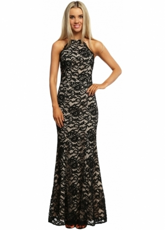 Jarlo Alyssa Scoop Back Black Lace Maxi Dress