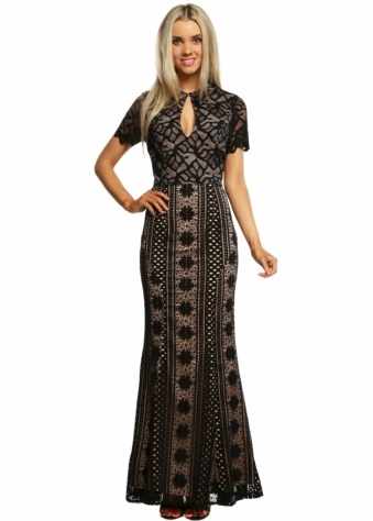 Jarlo Saran Vintage Black Lace Structured Maxi Dress
