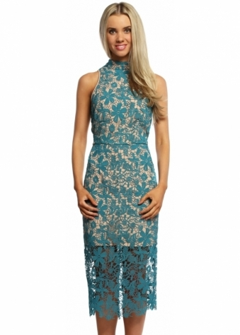 Juliet Teal Crochet Bodycon Pencil Dress