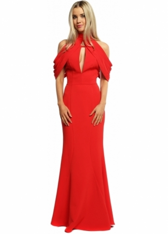 Jarlo Sierra Ribbon Shoulder Backless Maxi Dress