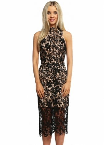 Jarlo Juliet Black Crochet Bodycon Pencil Dress