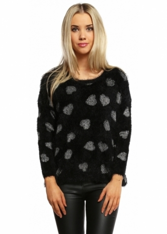 Urban Mist Black Fluffy Jumper With Silver Lurex Hearts