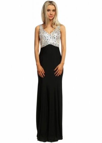 Designer Desirables Sparkling Silver Bodice Black Evening Maxi Dress