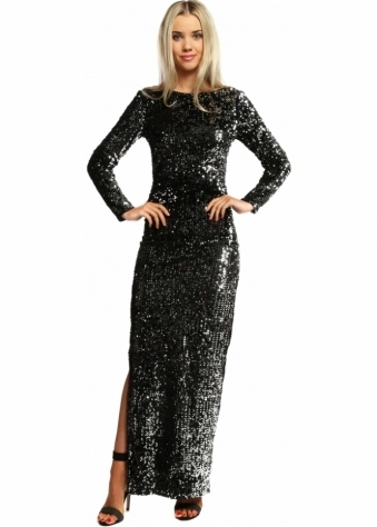 French Boutique Black & Silver Sequinned Low Back Evening Dress