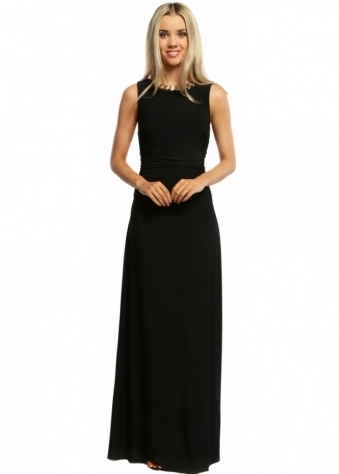 Gold Necklace Grecian Black Column Maxi Dress