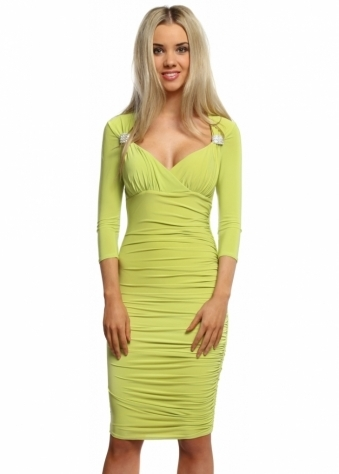 Goddess London Lime Sweetheart Neckline Diamonte Brooch Slinky Midi Dress