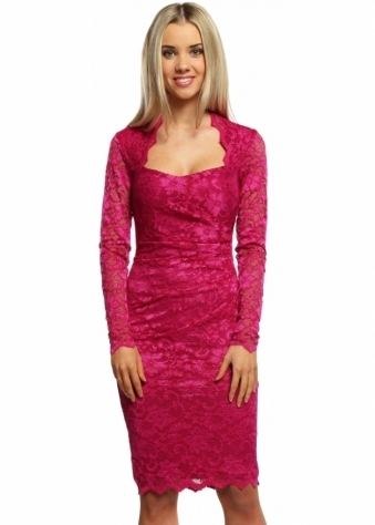 Goddess London Long Sleeved Magenta Lace Pencil Dress