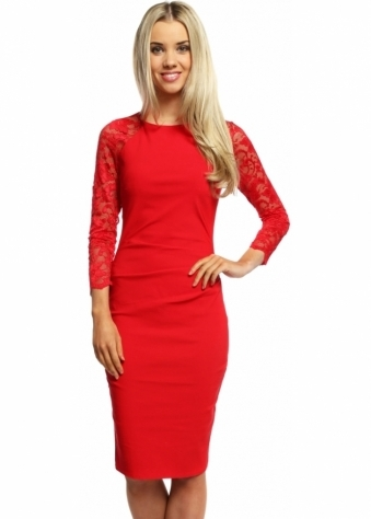 Goddess London Red Long Sleeved Lace Pleated Bodice Pencil Dress