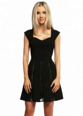 Black Sequin Lace Insert Mini Skater Dress