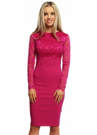 Goddess London Magenta Lace Bodice & Sleeves Pencil Dress