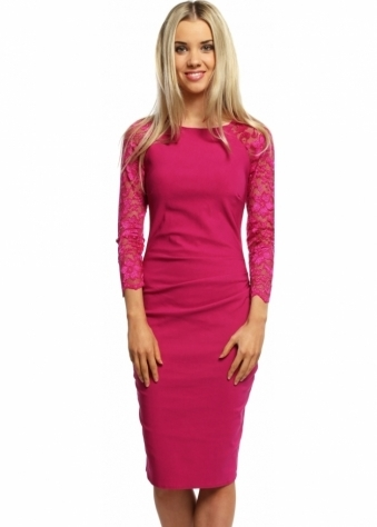 Goddess London Magenta Long Sleeved Lace Pleated Bodice Pencil Dress