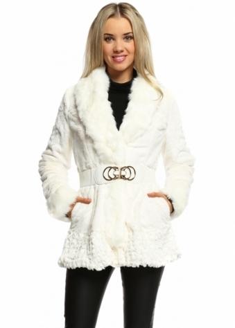 Urban Mist Winter White Chiffon Petal Faux Fur Belted Jacket
