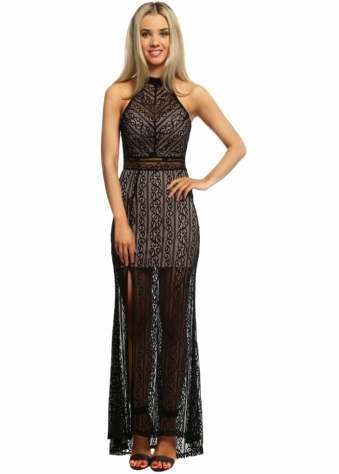 Love Triangle If You Only Knew Black Lace Halterneck Maxi Dress