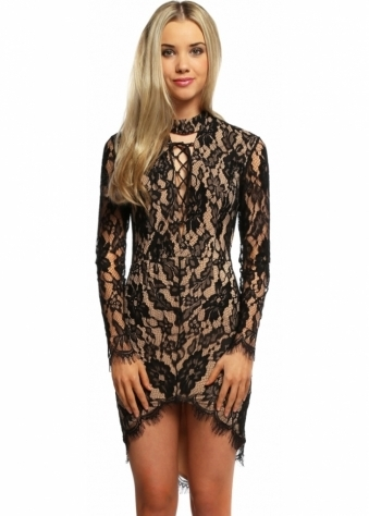 Ginger Fizz Lace You Up Black & Nude Mini Dress