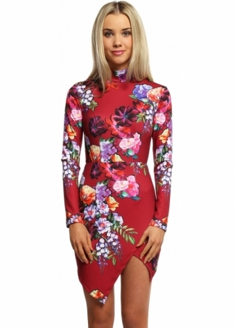 Autumn Blaze Floral Print Mini Dress