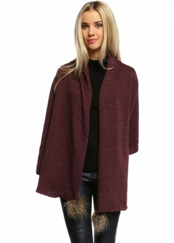 Alice Hannah Faux Fur Pom Pom Burgundy Lurex Knit Shawl