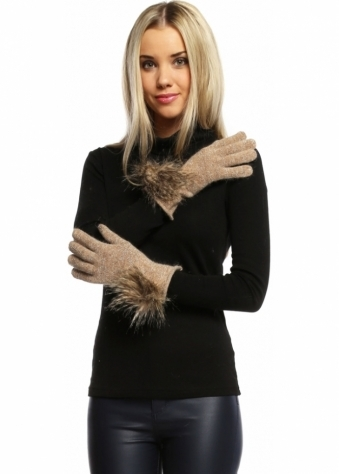 Caramel Lurex Gloves With Faux Fur Pom Pom