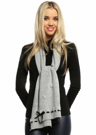 Grey Long Scarf With Pearls & Velvet Bow