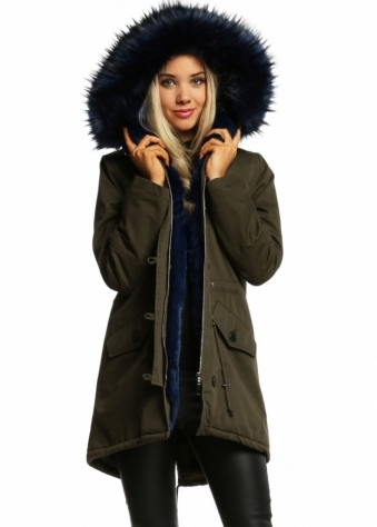 Designer Desirables Khaki Hooded Parka Lined With Midnight Luxe Faux Fur