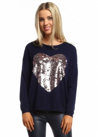 Designer Desirables Amore Rose Sequin Heart Jumper In Marine