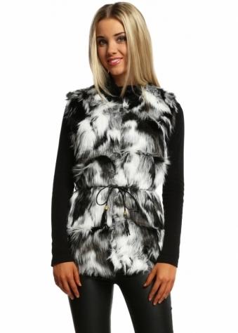 Designer Desirables Black Marbled Faux Fur Gilet
