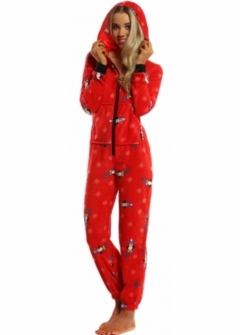 Designer Desirables Red Soft Fleece Penguin Pyjama Onesie