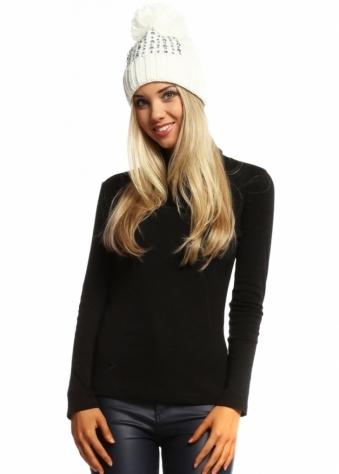 Designer Desirables Ivory Crystal Encrusted Pom Pom Bobble Hat