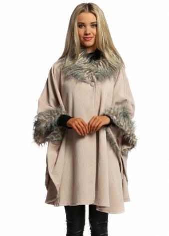 Designer Desirables Nude Fleece Tonal Faux Fur Swing Wrap Cape