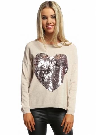 Designer Desirables Amore Rose Sequin Heart Jumper In Beige