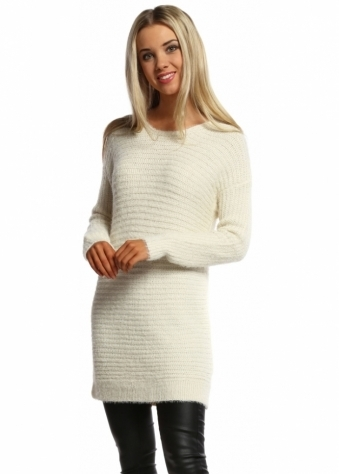 Designer Desirables Cream Lurex Ribbed Long Sleeved Tunic Jumper