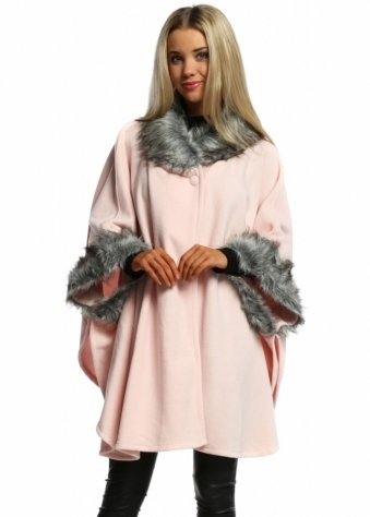 Designer Desirables Baby Pink Fleece Tonal Faux Fur Swing Wrap Cape