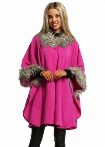 Designer Desirables Fuchsia Fleece Tonal Faux Fur Swing Wrap Cape