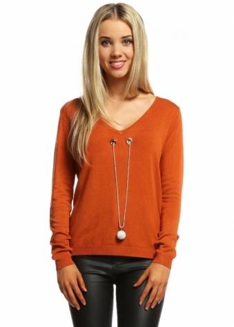 Laetitia Mem Burnt Orange V Neck Jumper With Diamonte Ball Necklace
