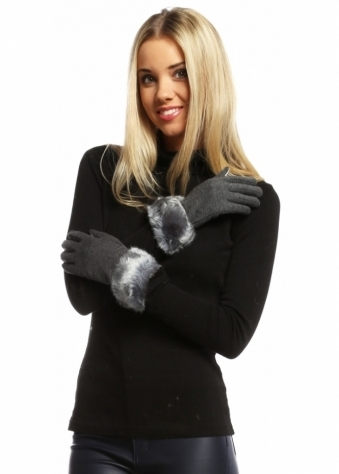 Designer Desirables Grey Faux Fur Trimmed Touch Screen Gloves