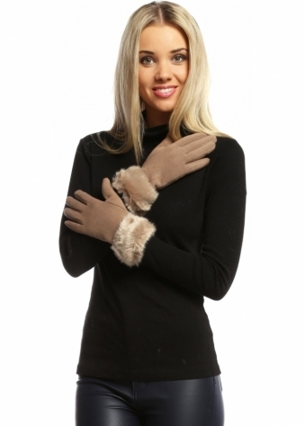 Designer Desirables Light Brown Faux Fur Trimmed Touch Screen Gloves